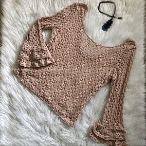 Free People M Beige Lace/Crochet Overlay Sweater